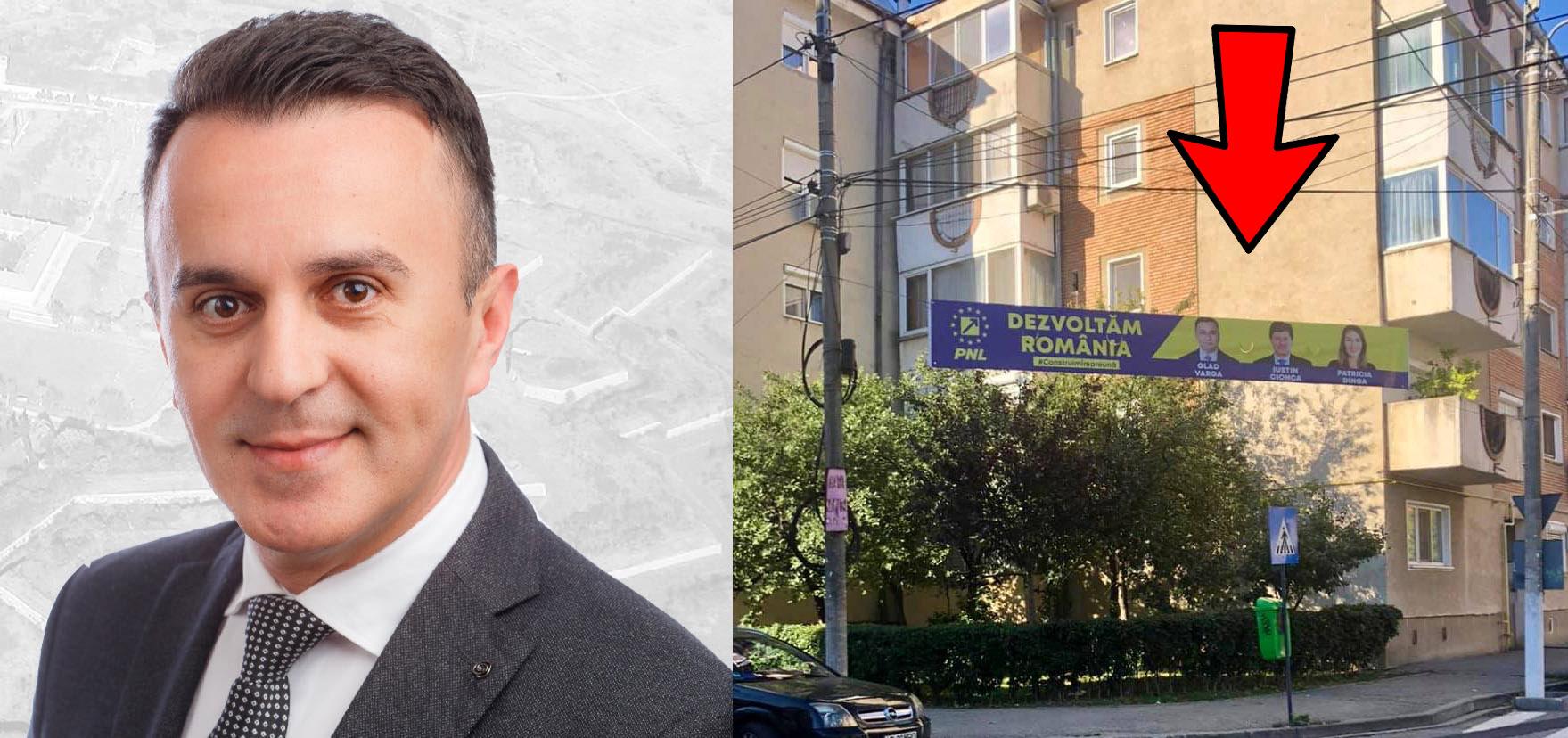 PNL Arad încalcă legea și umple orașul de bannere cu conținut electoral
